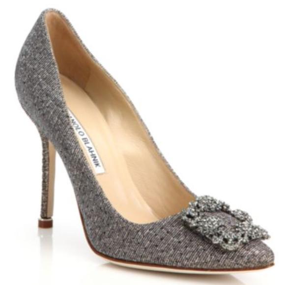 4fffefb4ad18e Manolo Blahnik Shoes | Hangisi 105 Bronze Textile Pumps | Poshmark